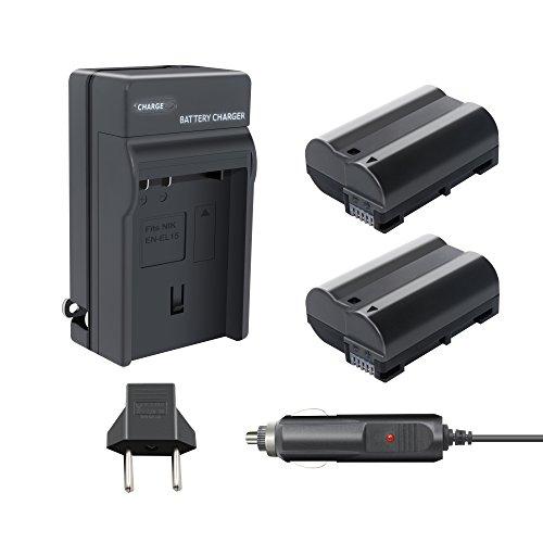 TURPOW 2 Pack Replacement 2000mAh Nikon EN-EL15/EN-EL15A Battery and Charger Pack for Nikon 1 V1, D7200, D7100, D7000, D800, D800E, D810, D810A, D850, D750, D610, D600 Digital SLR Camera