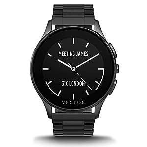 Vector Watch Luna Smartwatch-30 Day+ Autonomy, 5ATM, Notifications, Activity Tracking - Black Case/ Black Bracelet-Elegant