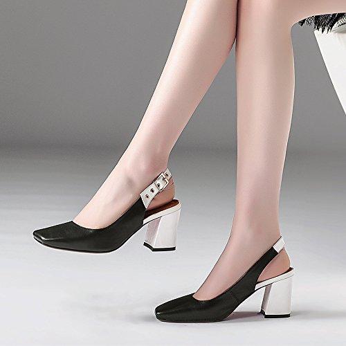Tie metallo testa nero spessa 7cm bianco AJUNR Moda Sandali Da tacco 38 34 Donna Fashion alti in colorazione e in Fibbia quadrata tacchi Alla qP07P8wxU