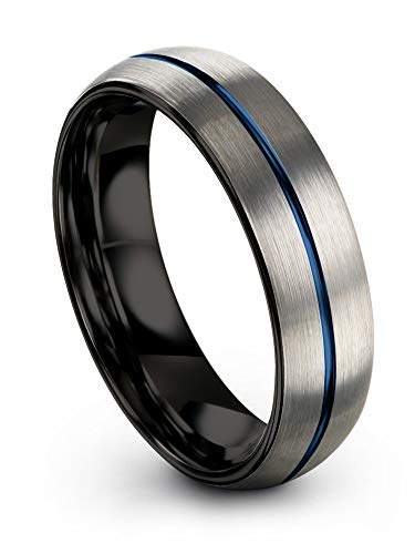 Chroma Color Collection Tungsten Wedding Band Ring 6mm for Men Women Blue Centerline Black Interior Dome Grey Exterior Brushed Polished Size 7.5