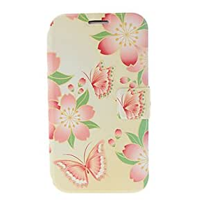 SUMCOM Pink Flowers and Butterfly Pattern Leather Case with Stand for Samsung Galaxy Note 2 N7100