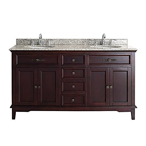 Ove Decors DUSTIN 60 Deep Bathroom Vanity with Beige Granite Vanity Top and White Basin, Tobacco, 60-Inch by (Tall Double Sink Vanity)