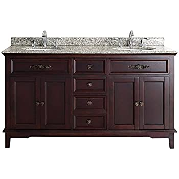 Ove Decors DUSTIN 60 Deep Bathroom Vanity with Beige Granite Vanity Top and  White Basin. Foremost nawa6021d Naples 60  x 21 1 2  Vanity Cabinet Only in