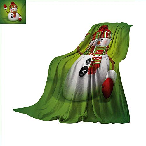 Snowman Lightweight Blanket 3D Style Fun Character Greeting Traditional Colors Seasonal Celebration Theme Digital Printing Blanket 60 x 50 inch Green Red White
