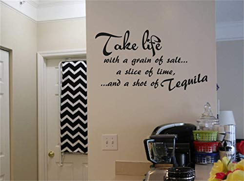 gauan Wall Decal Sticker Art Mural Home Decor Take Life with A Grain of Salt A Slice of Lime and A Shot of Tequila for Kitchen Dining Room