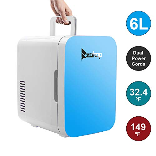 Camping Fridge 26.4 Quart/27L,Mini Refrigerator Electric Cooler and Warmer for Car and house with Dual 12V DC & 110V AC Thermoelectric System Portable Fridge for Travel, Camping and Picnic (6L-Blue)