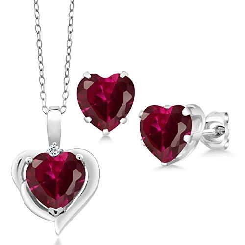 Gem Stone King 5.12 Ct Heart Shape Created Ruby White Topaz 925 Silver Pendant Earrings Set