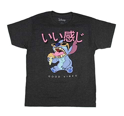 Disney Lilo and Stitch Men's Good Vibes Kanji Tee Sunglasses and Ice Cream T-Shirt (Large)