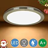 PADMA Bathroom Ceiling Light Fittings Flush LED Ceiling Lighting for Living Room 18W Warm White, IP44 Waterproof Chrome LED Kitchen Lights, Indoor Round Lighting for Bedroom, Hallway, Lounge