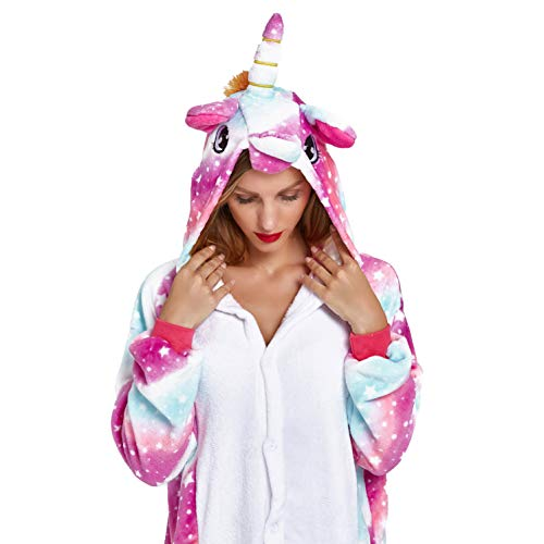 NOUSION Licorne Unisex Adult Pajamas, Cosplay Christmas Unicorn Sleepwear Onesies Outfit (S, Sky Unicorn New)]()
