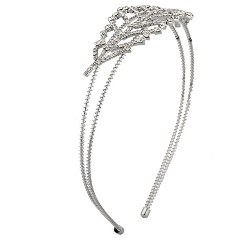 Lux Accessories Metal Crystal Pave Leaf Tree Stretch Bridal Bride Wedding Headband - Multi Colored Sapphire Flower