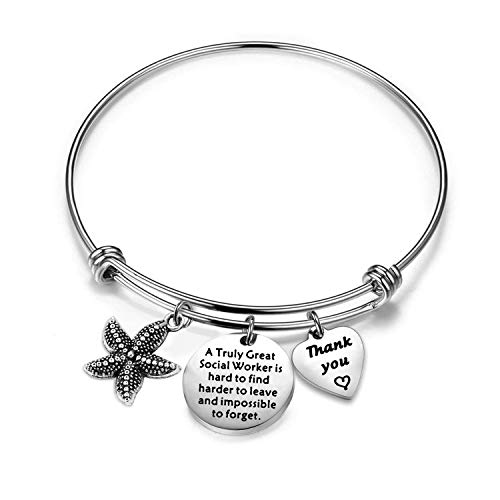 ENSIANTH Social Worker Gift A Truly Great Social Worker is Hard to Find Bracelet Starfish Jewelry Gift for Her (Social Worker Bracelet)