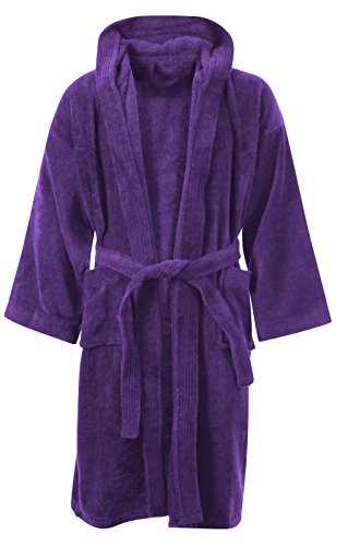 - Kids Boys Girls Bathrobe 100% Egyptian Cotton Luxury Velour Towelling Hooded Dressing Gown Soft FINE Comfortable Nightwear Terry Towel Bath Robe Lounge WEAR Housecoat (12-14 Years, Purple)