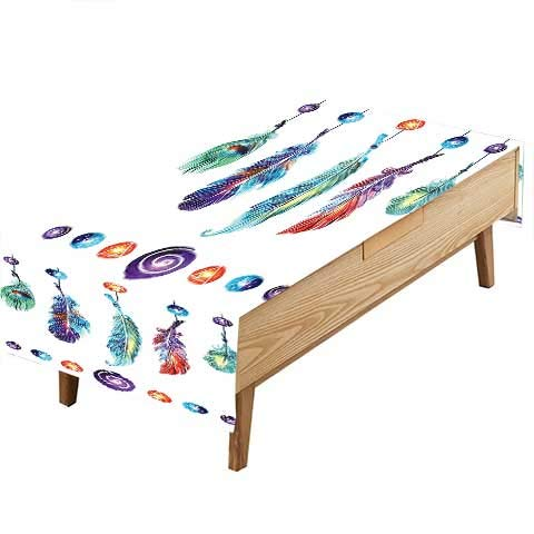 PINAFORE Indoor/Outdoor Spillproof Tablecloth Several Indian Feather Collection in Psychedelic Hippie Universe Cosmos Harmony Forms Mult Great Buffet Table, Parties,Wedding & More W50 x L80 INCH