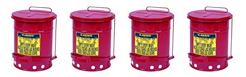 Justrite Galvanized-Steel; Safety cans; for Oily Waste; Red; Foot Operated Cover; Raised, Ventilated Bottom; Reinforced Ribs; Self-Closing; UL Listed; FM Approved; Capacity: 6 gal. (23L) (Pack of 4) ()