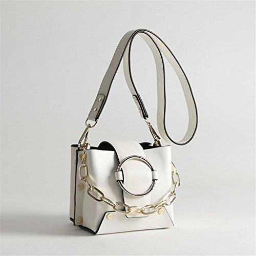 Bandoulière Messenger couleur Tote Simple Femme Bag Seau Épaule Coréen Loisirs Noir Sac À Pejgd Blanc Chain A Main Z6x7wqgU