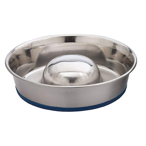 Our Pets DuraPet Slow Feed Premium Stainless Steel Dog Bowl (Renewed)
