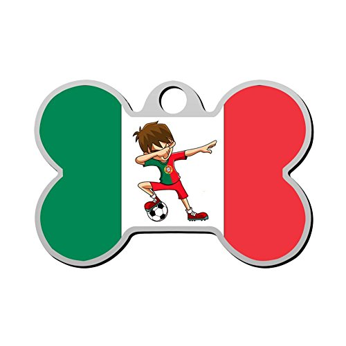 LADOGS Customized Pet ID Tag Mexico Soccer Player Boys Personalized Front and Back Bone Shape Dog Tags ()