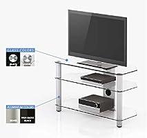 RO&CO - Mueble TV. Ancho 130 cms, 3 estantes. Vidrio Transparente ...
