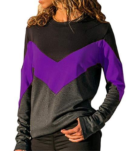 Frieed Womens Long Sleeve Casual Crewneck Zig Zag Chevron Knit Blouse Top Shirts Purple L ()