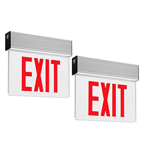 LEONLITE LED Edge Lit Red Exit Sign Single Face with Battery Backup, UL Listed, AC120V/277V, Ceiling/Left End/Back Mount Emergency Light for Hotel, Restaurant, Hospitals, Pack of 2 ()