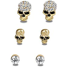 EVBEA Cute Skull Studs Womens Gothic Cool Statement Skeleton Jewelry Candy Skull Earrings