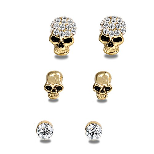 [EVBEA 3 Pairs Skull Stud Earrings Set Fashion Baby Earrings for Women Cool Gothic Jewelry (Yellow)] (Cute Unique Costumes)