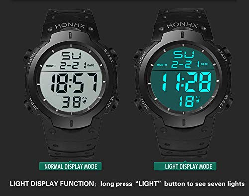 Amazon.com: Digital Stopwatch for Men, DYTA Sport Watches 5 ATM Waterproof Outdoor LED Digital Watch Military Rubber Wrist Watch Strap with Clasp Analog ...