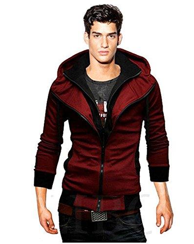 Gaorui Hombre Doble Cuello Fashion Abrigos Chaqueta Manga Larga Sudaderas con Capucha Deportes Jersey Outwear - Rojo -: Amazon.es: Ropa y accesorios