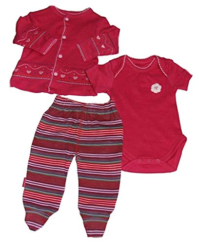 Baby-Girls Organic Cotton Knit Hearts and Stripes 3PC Set (3 Months)