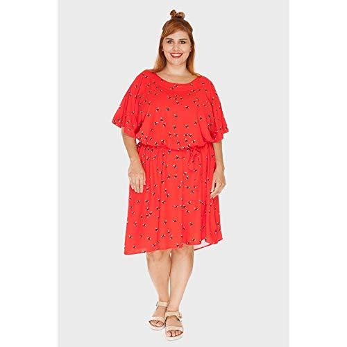 Vestido Amarração Mosca Plus Size Vermelho-50
