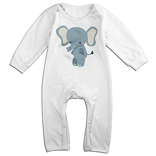 Piggie And Elephant Costumes (Baby Infant Romper Baby Elephant Long Sleeve Bodysuit Outfits Clothes White 24 Months)