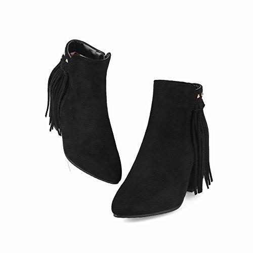 Mee Shoes Damen Blockabsatz Quasten Reißverschluss Stiefeletten Schwarz