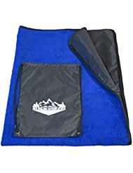 Bundle – 2 Items: Fleece Stadium Blanket Waterproof for Outdoor Sports Camping Picnic Concert and Drawstring Backpack...