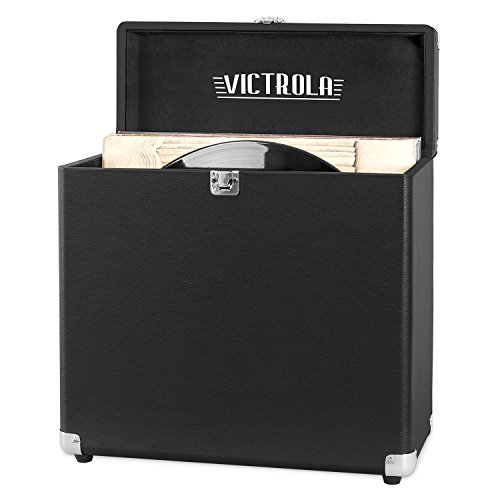 Victrola Vintage Vinyl Record Storage Carrying Case for 30+ Records, Black