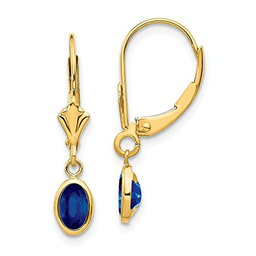 14k Yellow Gold 6x4 Oval Bezel September/sapphire Leverback Earrings Lever Back Drop Dangle Birthstone September Fine Jewelry Gifts For Women For Her