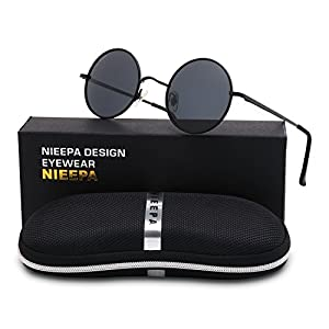 NIEEPA John Lennon Vintage Round Polarized Hippie Sunglasses Small Circle Sun Glasses