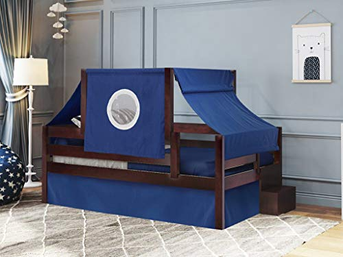 JACKPOT! JP Castle Twin Bed with Step Blue and White Tent & Curtains, Cherry