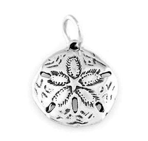(Sterling Silver 925 Sand Dollar Charm/Pendant Jewelry Making Supply Pendant Bracelet DIY Crafting by Wholesale Charms)