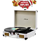 Vinyl Record Player JORLAI Turntable, 3 Speed Bluetooth Record Player Suitcase with built