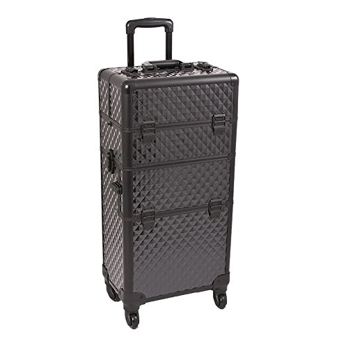 Sunrise I3461DMAB Black Diamond 4 Wheels Professional Rolling Aluminum Cosmetic Makeup Craft Storage Organizer Case and 6 Tiers Extendable Trays with Dividers by SunRise