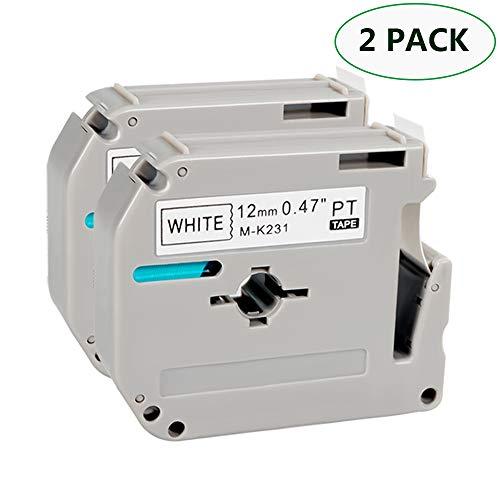 Labeling Tape for Brother M Tape M231 M-K231 MK231 Cartridge Black on White Non-Laminated Tape for Brother P-Touch PT-90 PT-M95 PTM95 PT-70SR PT-80 Label Maker 0.47 x 26.2 ft/(12m x 8m), 2 Pack