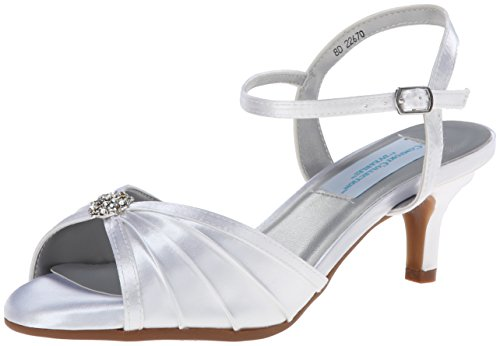 Dyeables Women's Kelsey Dress Sandal, White, 7.5 M US (Dyeable Sandal Satin White)