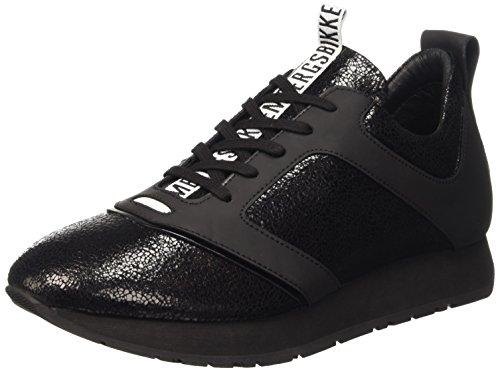 Bikkembergs Runn-er 786 Low Shoe W Leather Cracked, Sandalias con Plataforma para Hombre Negro