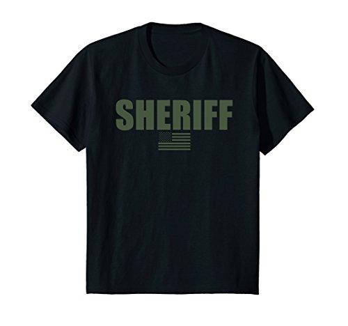 Kids Sheriff OD Green On Duty Uniform T-Shirt 6 Black