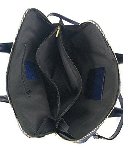 femmes pour avec cuir en cuir souple et porté documents Bleu Sac grande les Marine en Zerimar capacité une 08gpFn