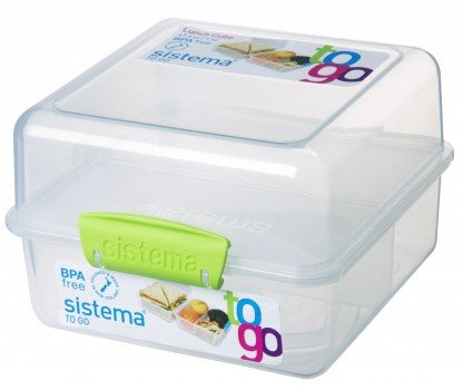 Sistema Klip It Lunch Cube to Go Containers with Color Accented Clips (Clear with Green Accents) BPA Free 47.3 oz/1.4L