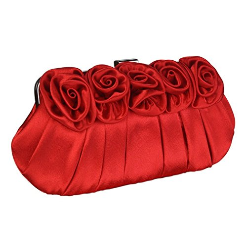Clutch Bag Party Long Design With Satin Evening Chain Wedding And Flower Handbag Red Short A Purse tExqH4WWw