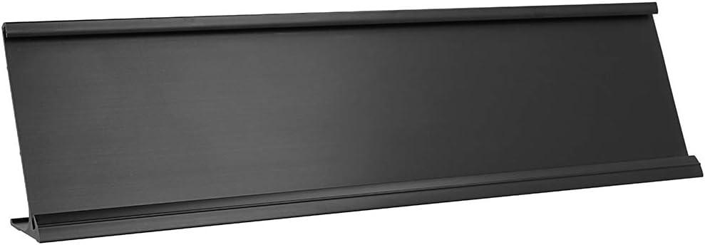 "2"" x 8"" Aluminum Name Plate Holder for Desk - Office Business Door Sign Holder - Black"