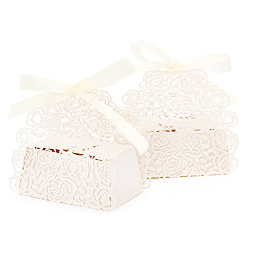 WOMHOPE® 50 Pcs - Roses Flowers Wedding Candy Box Chocolate Candy Holders (50 Rose)